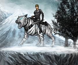 Фото Воины Тигры Волшебные животные Мечи