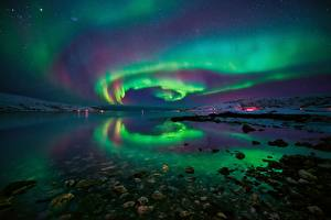 Фото Вода Камень Побережье Норвегия Северное сияние Ночные Залив Fjord