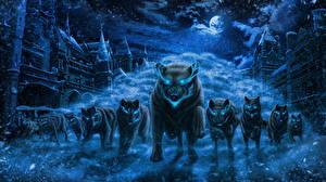 Обои Волки Волшебные животные Ночные Снег Бег Луна Фэнтези