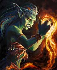 Обои WoW Магия Орки Firecaller Игры Фэнтези