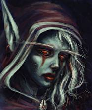 Картинки World of WarCraft Сильвана Ветрокрылая Лицо Капюшон Ужасные Игры Девушки Фэнтези