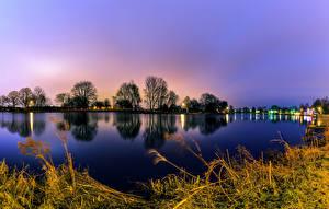 Картинки Амстердам Нидерланды Речка Вечер Деревья Природа