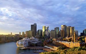 Фотографии Австралия Дома Пирсы Корабль Круизный лайнер Сидней Залива