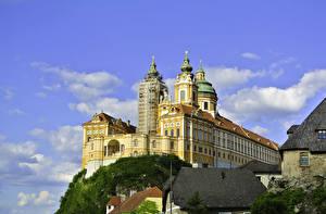 Фотографии Австрия Монастырь Храмы Небо Крыша Melk Abbey Города