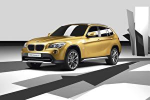 Фото BMW Золотой CUV Concept E84 Автомобили