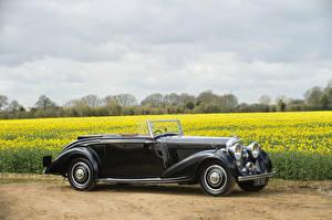 Картинки Bentley Старинные Кабриолета Черных Металлик 1937 4 ¼ Litre Concealed Head Coupe by Mulliner Автомобили