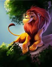 Фотографии Большие кошки Львы Рисованные Животные