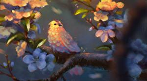 Обои Птицы Рисованные Ветвь Животные