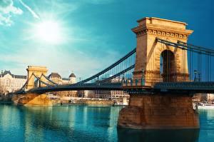 Картинки Мосты Венгрия Будапешт Речка город