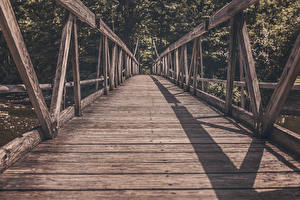Фотографии Мосты Деревянный Доски