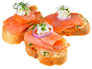 Картинка Бутерброды Рыба Хлеб Белый фон Трое 3