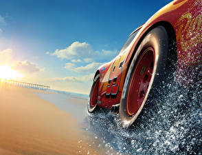 Фотография Тачки 3 Крупным планом Красный Колесо Lightning McQueen
