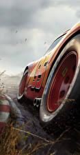 Фотографии Тачки 3 Вблизи Красный Колесо Lightning McQueen Мультики
