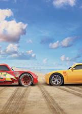 Фотографии Тачки 3 Вдвоем Желтый Красный Lightning McQueen, Cruz Ramirez Мультики
