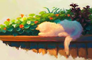 Фото Кошки Рисованные Забор Животные