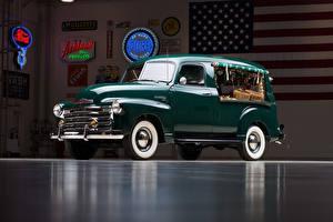Картинки Chevrolet Ретро Зеленый Металлик 1949-50 3100 Canopy Express Truck
