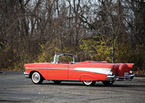 Обои Chevrolet Ретро Кабриолет Розовый 1957 Bel Air Convertible