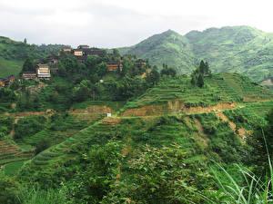 Фото Китай Поля Здания Горы Longsheng Pingan Village Природа