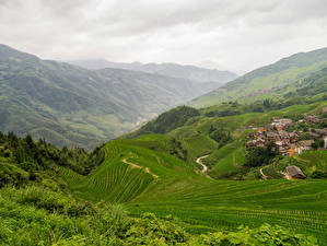 Фото Китай Пейзаж Здания Поля Холмы Longji Rice Terraces Pingan Village