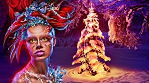 Картинка Новый год Сверхъестественные существа Лицо Взгляд Елка Электрическая гирлянда Ужасные Фэнтези