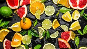 Картинки Цитрусовые Лайм Лимоны Нарезка Продукты питания