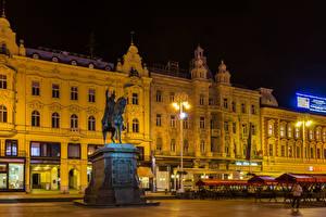 Картинка Загреб Хорватия Здания Вечер Памятники Уличные фонари