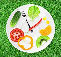 Картинка Часы Овощи Фрукты Огурцы Креатив Трава Тарелка Дизайна Вилка столовая Продукты питания