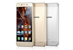 Картинки Вблизи Телефон Смартфон Белый фон Втроем Lenovo Vibe K5