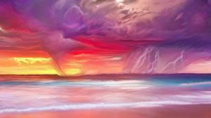 Обои Побережье Рисованные Стихия Молния Тучи