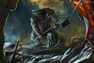 Картинка Крокодил Чудовище Боевой молот Фантастика
