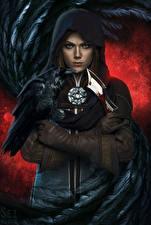 Фотография Вороны Ножик Dragon Age Капюшон Перчатки Inquisition Игры Фэнтези
