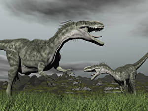 Картинки Динозавры Двое Траве 3D_Графика