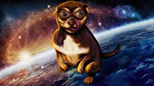 Картинка Собака Поверхность планеты Фантастика