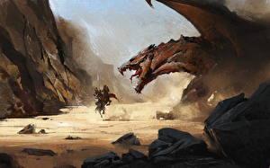 Картинка Драконы Рыцарь Сражения Злость