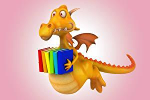 Фотографии Драконы Желтый Книга 3D Графика