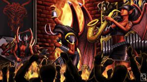 Фотографии Эльфы Демоны Микрофон Гитара Концерт Satan's Big Band