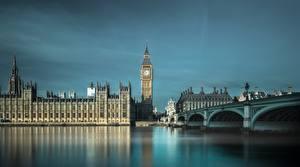 Фото Англия Мосты Речка Биг-Бен Лондон Города