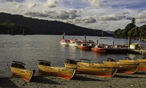 Фото Англия Берег Реки Лодки Причалы Lake Windermere Природа