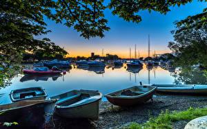 Фотография Англия Вечер Реки Яхта Лодки Катера Bournemouth Природа