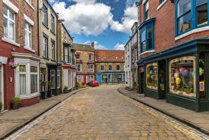Картинка Англия Дома Дороги Улица Staithes Города