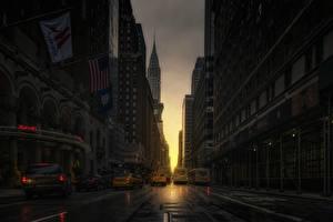 Картинка Вечер Здания Штаты Манхэттен Нью-Йорк Улиц Города