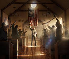 Фотография Far Cry 5 Мужчины Огнестрельное оружие Флаг