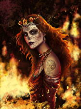 Обои Пламя Рыжая Смотрит Chantico Фэнтези Девушки