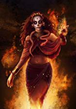 Картинка Пламя Змеи Рыжая Chantico Фантастика Девушки