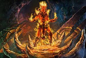 Фотографии Огонь Сверхъестественные существа Демоны Рога Spirit of fire Фэнтези