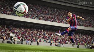 Обои Футбол Lionel Messi Мяч Удар Fifa 16 barca 3D_Графика