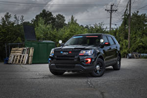 Картинка Форд Черный Полицейские Explorer Авто