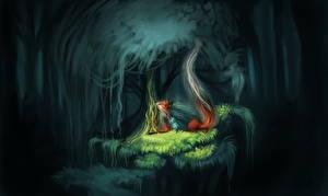 Фото Леса Лисы Волшебство Ночь Garden of Eden Фэнтези