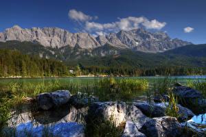 Картинка Германия Озеро Горы Леса Камень Пейзаж Альпы Lake Eib