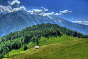 Картинка Германия Горы Леса Луга Пейзаж HDRI Ramsau